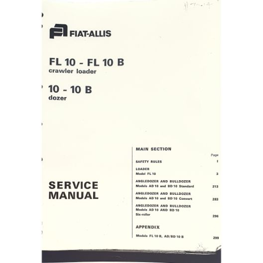 MANUAL SERVICE FIAT 10 - 10B (Part Number: MANWSFIAT10) - Call South Burnett Tractor Parts on 07 4164 2000