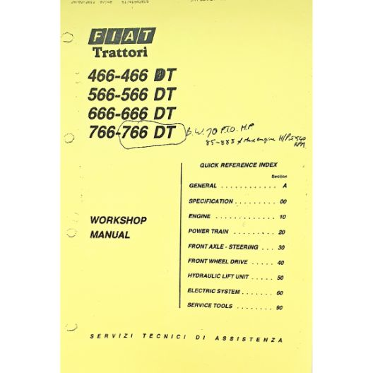 MANUAL WORKSHOP 466-766 (Part Number: MANWSFIAT466/566) - Call South Burnett Tractor Parts on 07 4164 2000