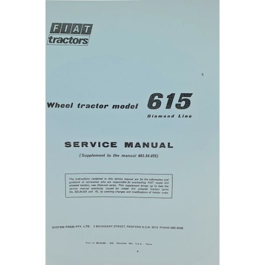 MANUAL SERVICE FIAT 615 (Part Number: MANWSFIAT615) - Call South Burnett Tractor Parts on 07 4164 2000