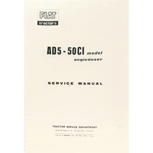 MANUAL SERVICE FIAT 50CI - AD5 (Part Number: MANWSFIATAD5) - Call South Burnett Tractor Parts on 07 4164 2000