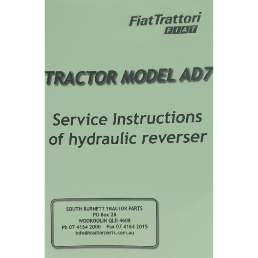 MANUAL SERVICE FIAT AD7  (Part Number: MANWSFIATAD7) - Call South Burnett Tractor Parts on 07 4164 2000